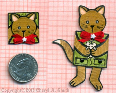 Inch sized paper doll cat
