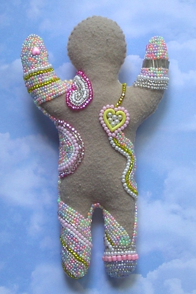 dolls mixed media embroidered beaded shrink